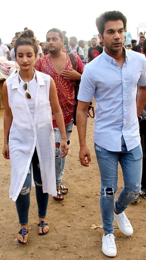 Rajkummar Rao with girlfriend Patralekhaa at the protest venue in Mumbai.