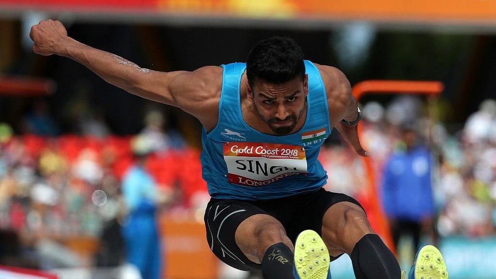Arpinder Singh performing at the Gold Coast games.