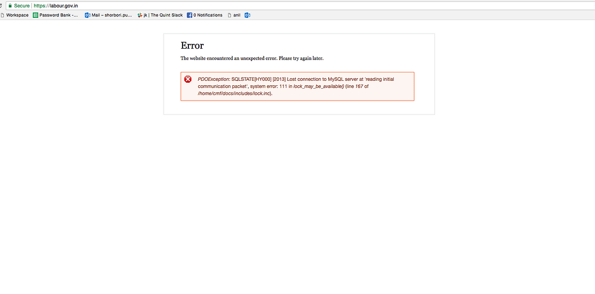 Screenshot of the Labour Ministry website