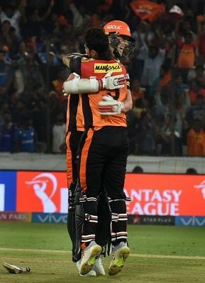 Hyderabad: Deepak Hooda and Billy Stanlake of Sunrisers Hyderabad celebrate after winning an IPL 2018 match against Mumbai Indians at Rajiv Gandhi International Cricket Stadium in Hyderabad on April 12, 2018. (Photo: IANS)