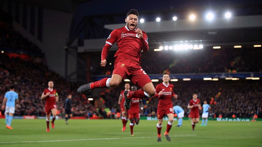 Liverpool's Alex Oxlade-Chamberlain celebrates after scoring his side's second goal of the game during the first leg of the Champions League quarter final match against Manchester City at Anfield last week.