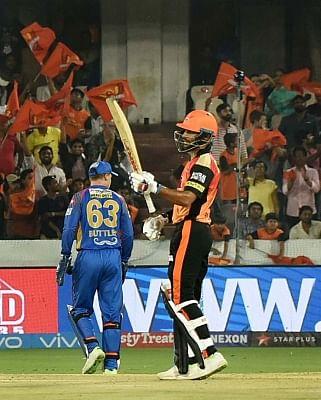 Hyderabad: Shikhar Dhawan of Sunrisers Hyderabad celebrates his half century during an IPL 2018 match between Sunrisers Hyderabad and Rajasthan Royals at Rajiv Gandhi International Stadium in Hyderabad on April 9, 2018. (Photo: IANS)
