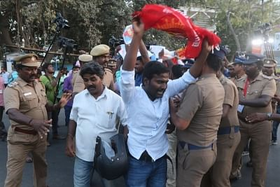 Chennai: People demanding the constitution of Cauvery Management Board (CMB) stage a demonstration against an IPL match between Chennai Super Kings (CSK) and Kolkata Knight Riders (KKR) scheduled to be held at Chepauk Stadium in Chennai on April 10, 2018. (Photo: IANS)