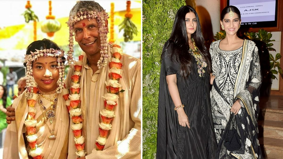 sMilind Soman gets married; Kapoor sister duo pose for the paparazzi.