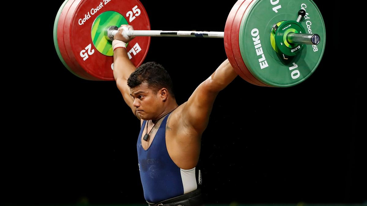 Indian weightlifter Venkat Rahul Ragala in action at the Gold Coast Commonwealth Games.
