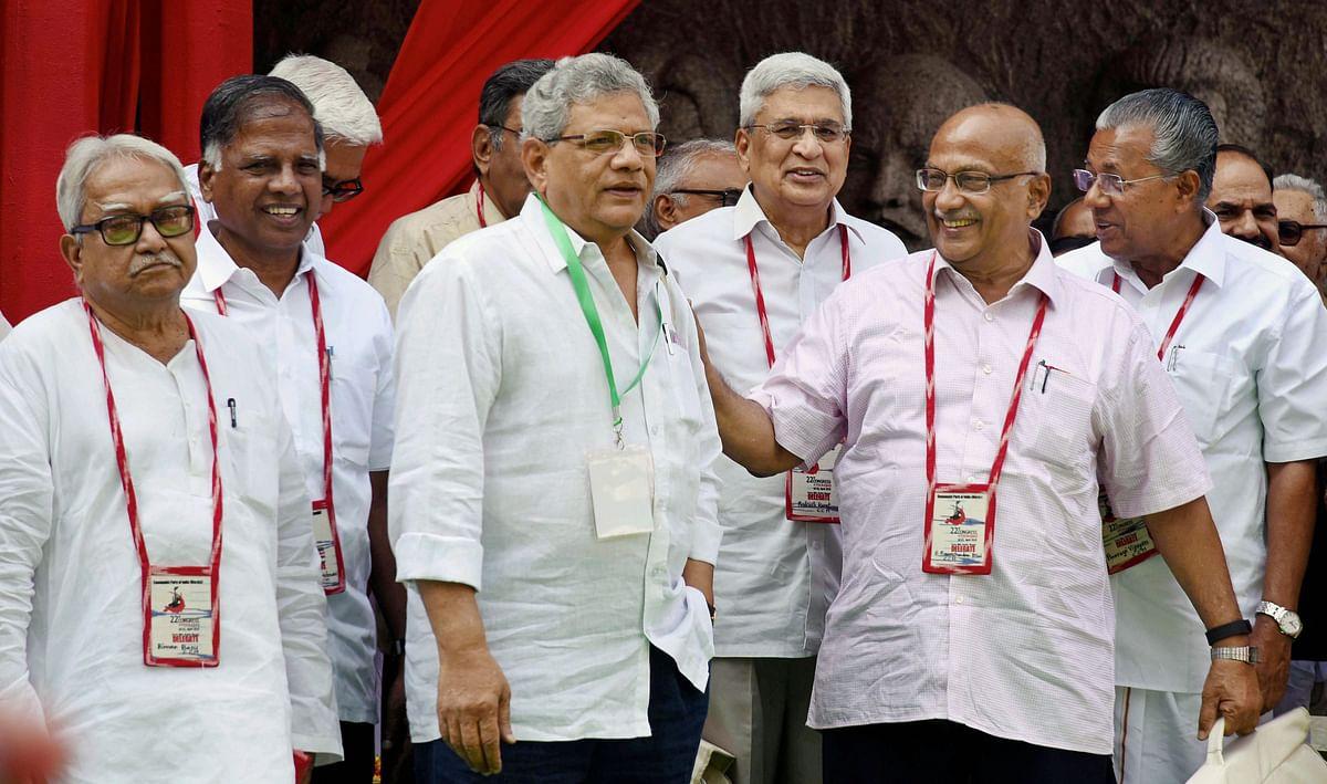 CPI(M) general secretary Sitaram Yechury, Kerala Chief Minister Pinarayi Vijayan, CPI(M) politburo member Prakash Karat and other leaders