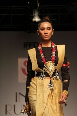 The concluding day of India Runway Week (IRW) was high on textile and handloom with five designers from the past seasons dedicating their line to textiles and handlooms during the finale show. (Photo: IANS)