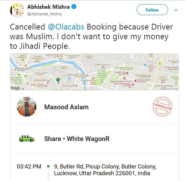Mishra said he cancelled his cab because he didn't want to give money to 'jihadi' people.