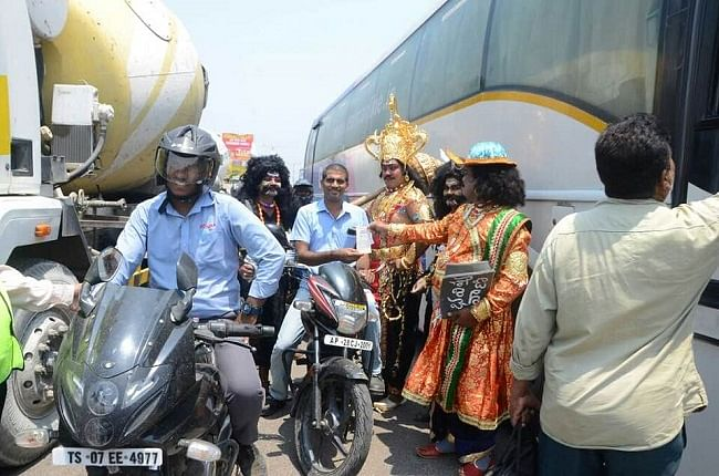 The actors who donned the roles also enacted a short skit with each driver and rider.