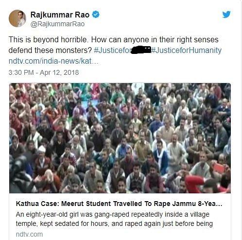 Rajkummar Rao Tweets about the Unnao and Kathua rape cases.