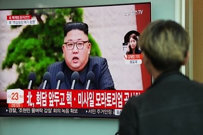 Seoul: A South Korean man watches a news broadcast at Seoul Station on North Korea