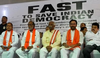 Hyderabad: BJP leaders K. Laxman, Bandaru Dattatreya and G. Kishan Reddy observe a day-long fast to protest the disruption of Parliament