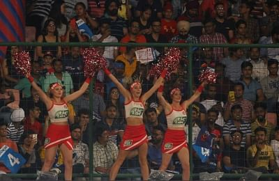 New Delhi: Cheerleaders ​perform during an IPL 2018 match between Kings XI Punjab and Delhi Daredevils at Feroz Shah Kotla, in New Delhi on April 23, 2018. (Photo: Surjeet Yadav/IANS)