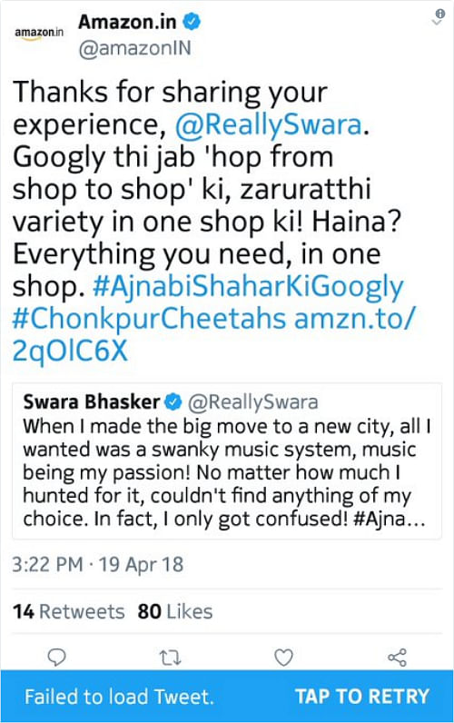 Trolled Amazon India Silent After Deleting Swara Bhasker's Tweet