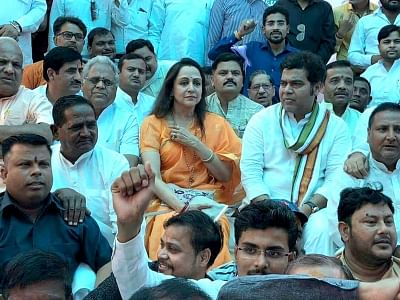 Mathura: BJP leaders Hema Malini and Shrikant Sharma, along with party workers observe a day-long fast to protest the disruption of Parliament