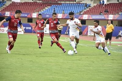 Bhubaneswar: Players in action during a Super Cup match between Jamshedpur FC and FC Goa, at Kalinga Stadium in Bhubaneswar on April 12, 2018. (Photo: IANS)