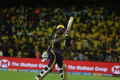 Chennai: Andre Russell of Kolkata Knight Riders returns back to the pavilion after completion of the first innings during an IPL 2018 match between Kolkata Knight Riders and Chennai Super Kings at MA Chidambaram Stadium in Chennai on April 10, 2018. (Photo: IANS)