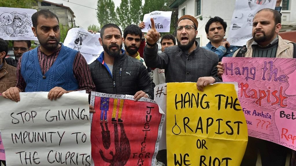 Protesters demanding justice for eight year old of Kathua in Jammu, who was gangraped and murdered.
