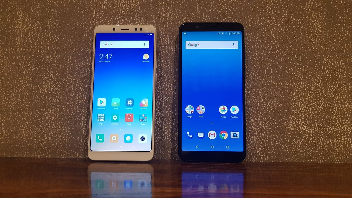 Xiaomi Redmi Note 5 Pro (L) and ASUS ZenFone Max Pro (R).