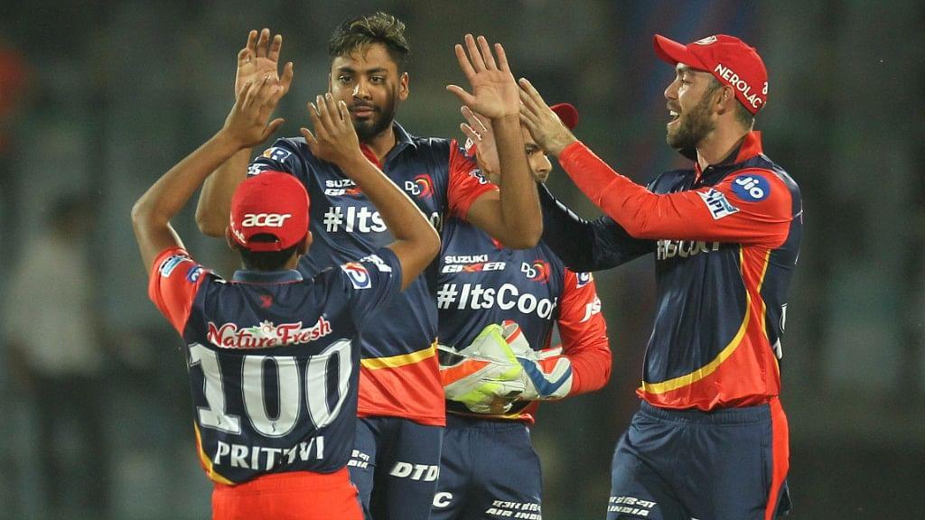Delhi Daredevils' Avesh Khan  celebrates the wicket of Aaron Finch of the Kings XI Punjab at the Feroz Shah Kotla Ground in Delhi.