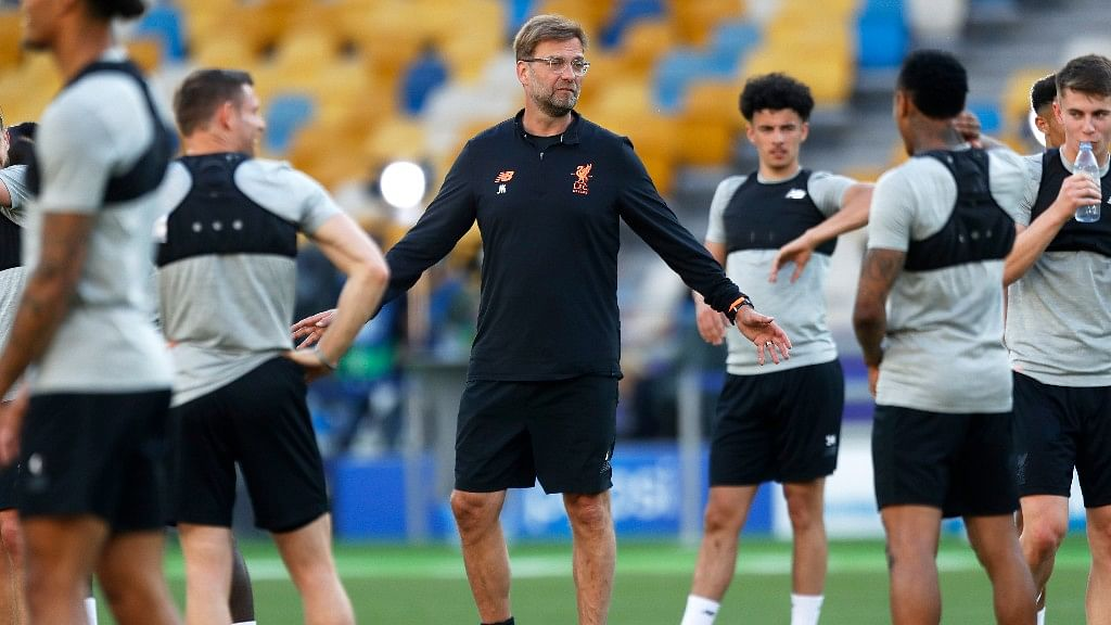 Liverpool coach Juergen Klopp during a training session at the Olimpiyskiy Stadium in Kiev in Ukraine on Friday.