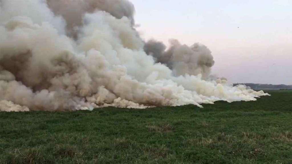 Smoke around the Bellandur lake in Bengaluru.