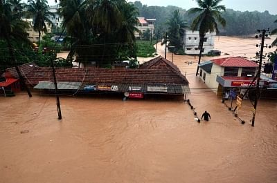 A view of flooded roads of Mangaluru after heavy rains as monsoon entered early to the Karnataka on 29 May 2018.