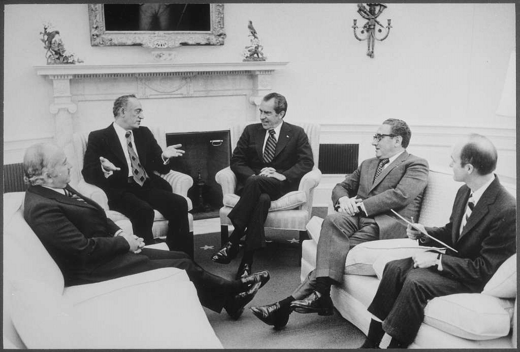 US President Richard Nixon and Secretary of State Henry Kissinger meet diplomats from Egypt and Saudi Arabia, at the White House in Washington D.C., on 19 February, 1974.