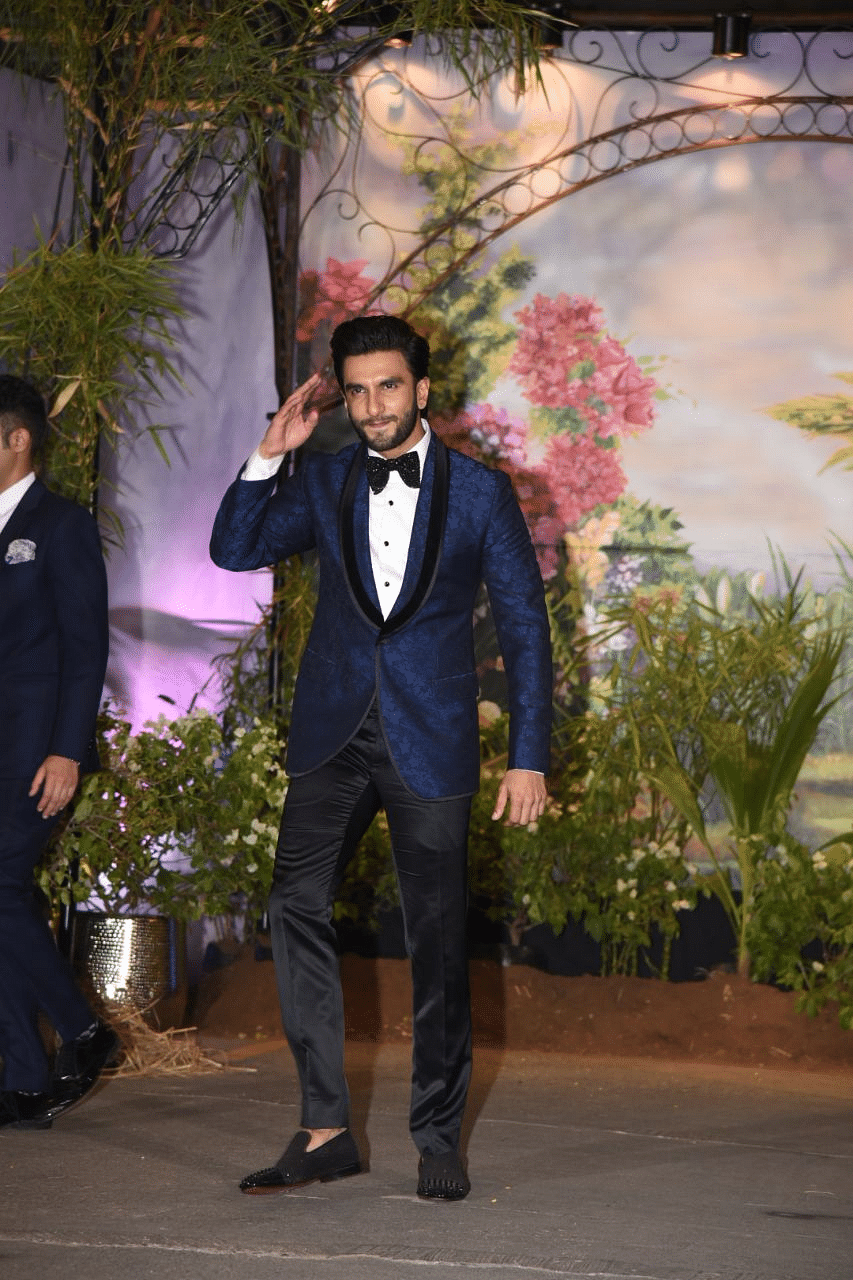 Ranveer Singh looked dapper as he arrived at his cousin Sonam's reception.