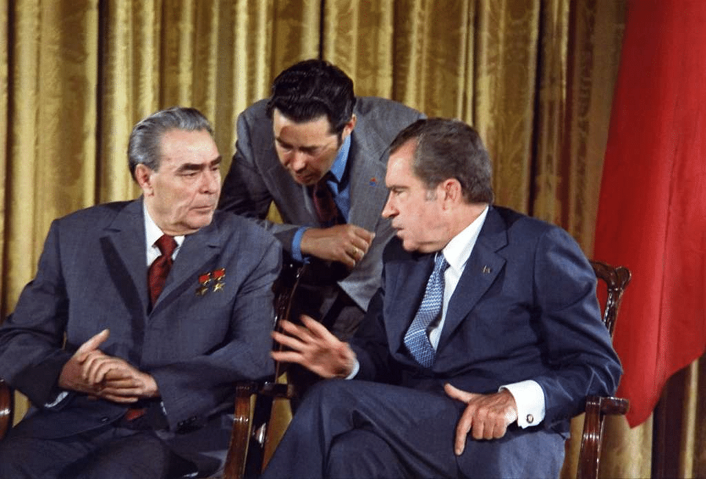 US President Richard Nixon and Leonid Brezhnev meeting during the Soviet Premier's visit to the US, on 19 June, 1973.