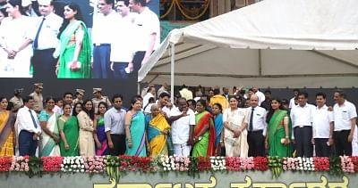 Bengaluru: Karnataka Chief Minister H.D.Kumaraswamy during his swearing in ceremony in Bengaluru on May 23, 2018. (Photo: IANS)
