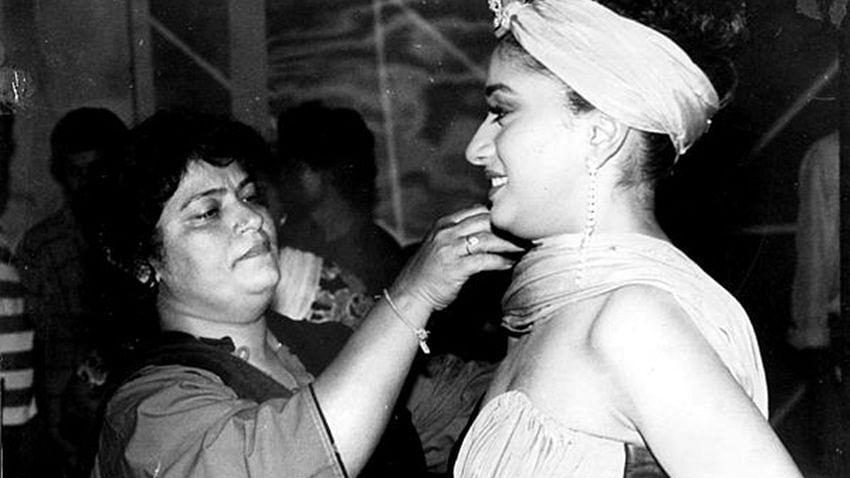 Saroj Khan with Madhuri Dixit during a shoot.