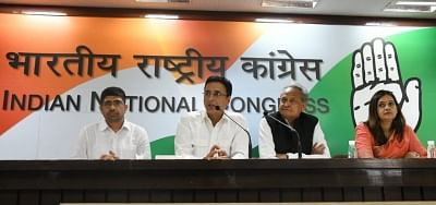 New Delhi: Congress leaders Ashok Gehlot and Randeep Singh Surjewala during the release of  party
