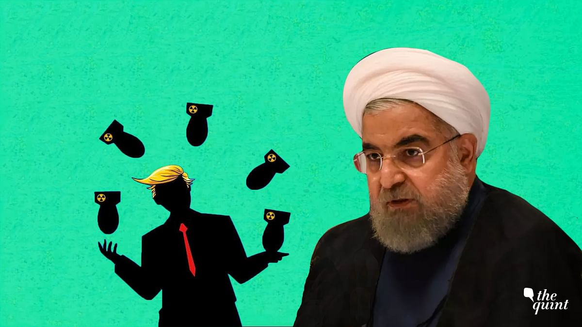 Image of President of Iran, Hassan Rouhani, and an artist's impression of US President Trump used for representative purposes.
