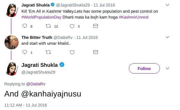 Jagrati Shukla suggesting killing of Kanhaiya Kumar.