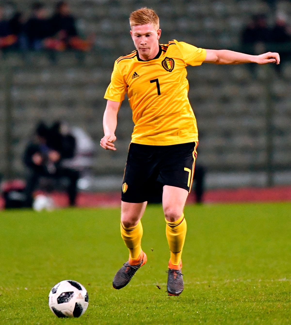 FILE - In this Tuesday, March 27, 2018 filer, Belgium's Kevin De Bruyne in action during an international friendly soccer match between Belgium and Saudi Arabia at King Baudouin stadium in Brussels.