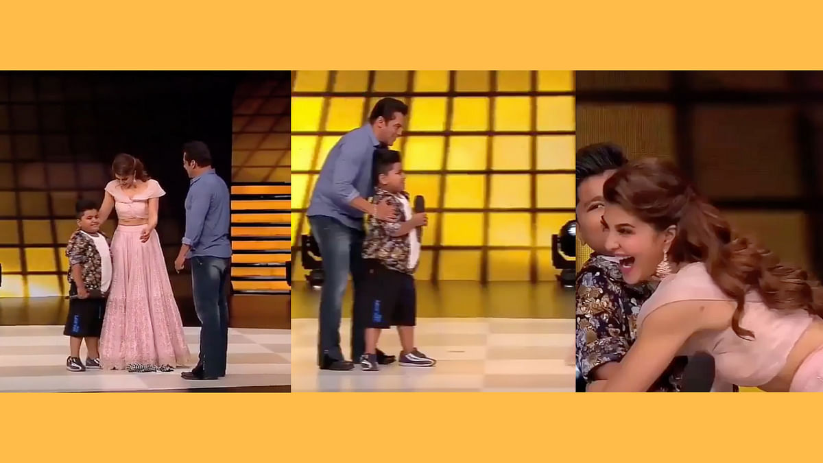 Salman Khan and Jacqueline Fernandez with the child participant on the reality dance show.