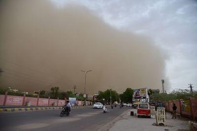 Bikaner: Dust storm hits Bikaner on May 2, 2018. (Photo: IANS)