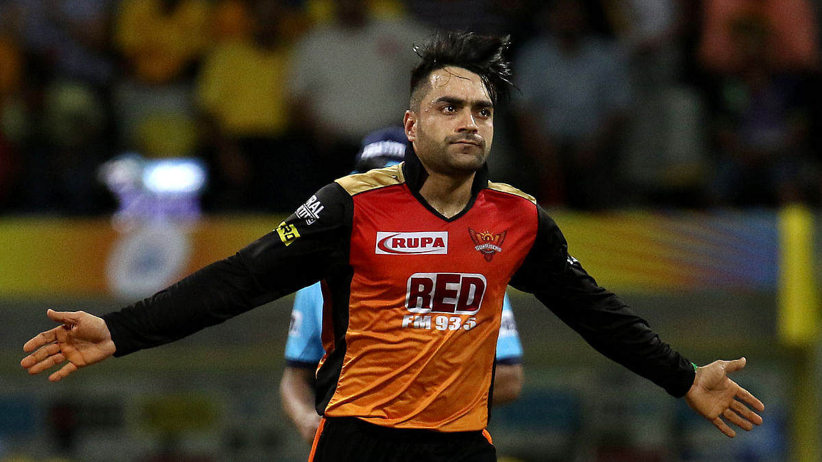 Rashid Khan of the Sunrisers Hyderabad celebrates the wicket of Dwayne Bravo of the Chennai Super Kings during the qualifier 1 of the Vivo Indian Premier League 2018