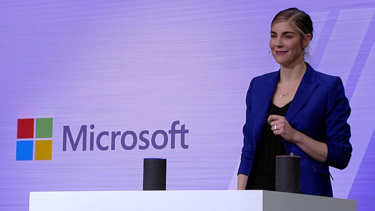 Megan Saunders from Microsoft giving Cortana demo on Echo speaker.