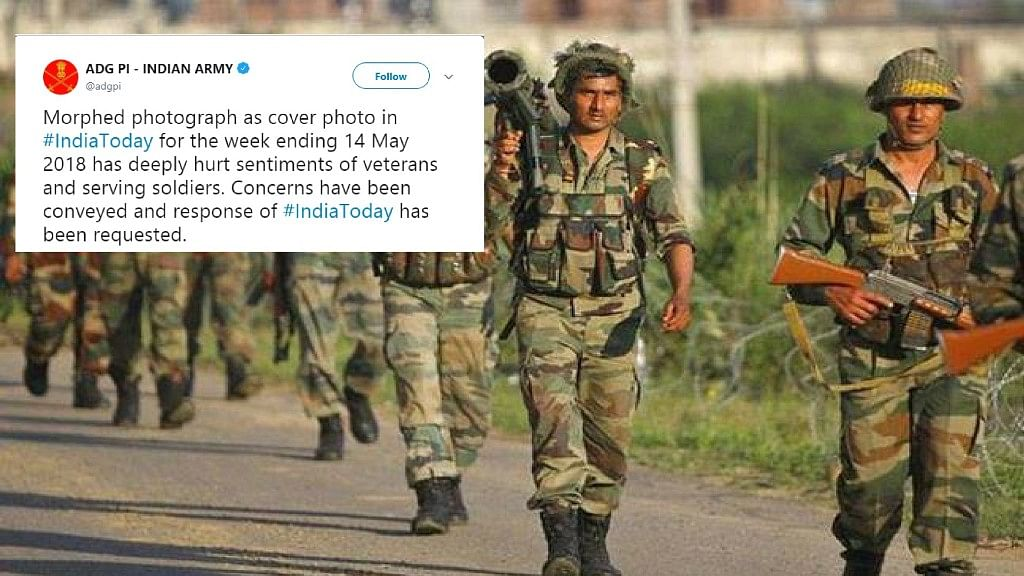 """The Indian Army expressed that its sentiments were """"deeply hurt"""" by the photograph accompanying India Today's cover story headlined: """"The Army is Broke""""."""