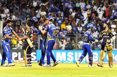 Mumbai: Mumbai Indians celebrate after winning an IPL 2018 match against Kolkata Knight Riders at Wankhede Stadium in Mumbai, on May 6, 2018. (Photo: IANS)