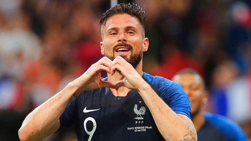 France's Olivier Giroud celebrates after scoring a goal against Ireland.