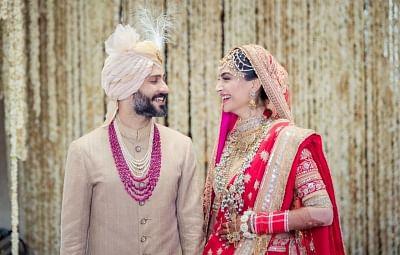 Mumbai: Actress Sonam Kapoor and Anand Ahuja during their wedding ceremony in Mumbai on May 8, 2018.
