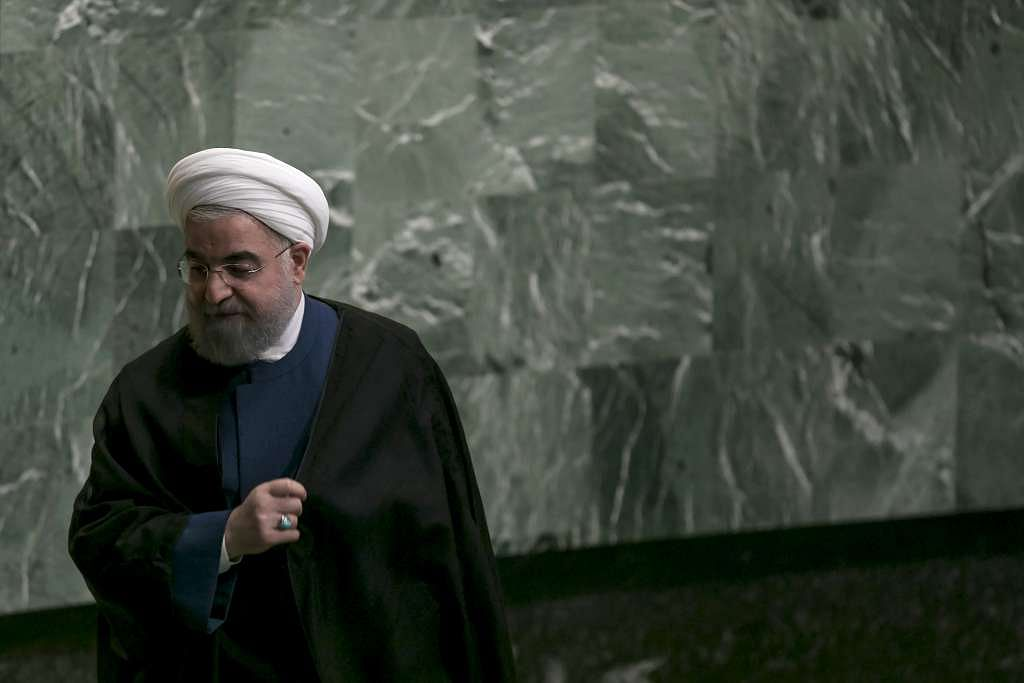 Hassan Rouhani, Iran's president, exits the podium after speaking during the UN General Assembly meeting in New York.