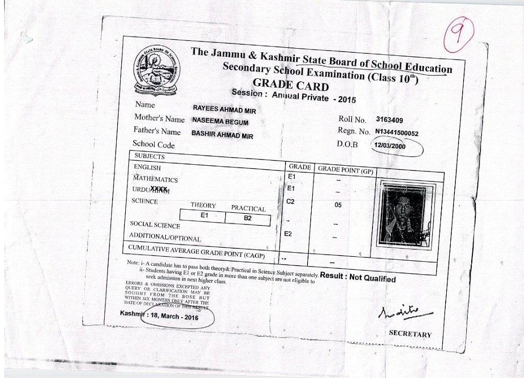 Rayees Ahmad Mir's class 10 marksheet highlighting his date of birth.
