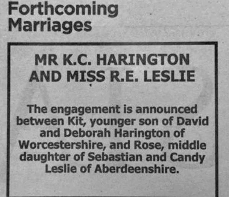 Engagement announcement of Kit Harington and Rose Leslie in the newspaper, Times in England.