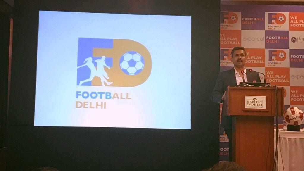 Football Delhi's newly-elected president Shaji Prabhakaran releasing the new logo of the association.