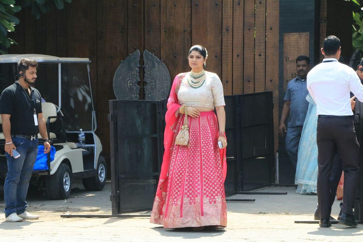Arjun Kapoor's sister Anshula outside the wedding venue.