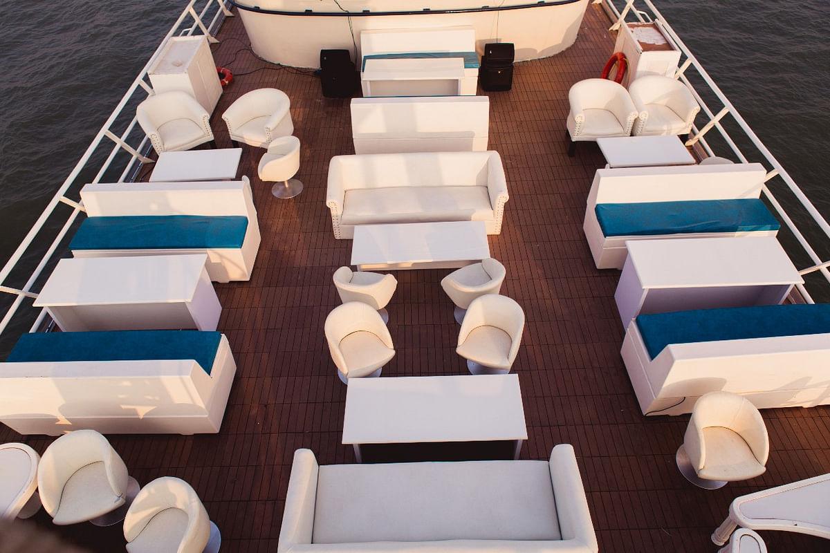 A floating restaurant, Ark Deck Bar, capsized off the Bandra coast.